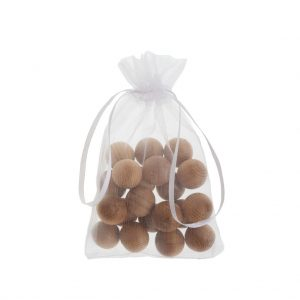 Canada red cedar balls in organza bag (moth repellant) | Total Wardrobe Care