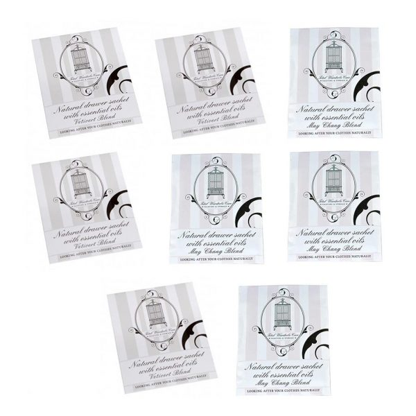 Pack of 4 Vetivert and 4 May Chang anti-moth drawer sachets | Total Wardrobe Care