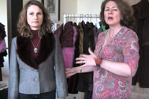 Julia Dee fits a jacket for Katie Young