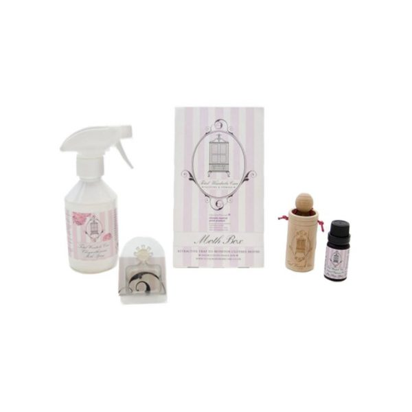 Moth DIY kit: chrysanthemum spray, moth decoy, moth box, essential oil, wooden cup diffuser | Total Wardrobe Care