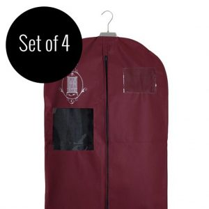 Set of 4 non-woven garment storage bags medium burgundy | Total Wardrobe Care