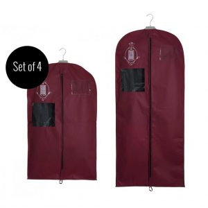 Set of 4 non-woven garment storage bags medium and small burgundy | Total Wardrobe Care