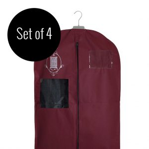 Set of 4 non-woven garment storage bags small burgundy | Total Wardrobe Care