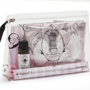 ceramic hanging infuser gift set with cedarwood and anti-moth essential oils | Total Wardrobe Care