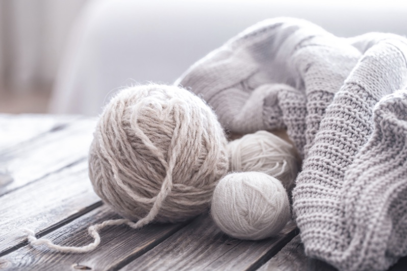 Ball of wall and wool blanket